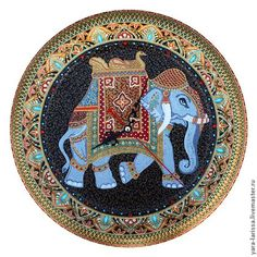 Часы настенные интерьерные `Индийский слон` . Работа выполнена на металлической основе . Выполнена в технике точечной росписи: