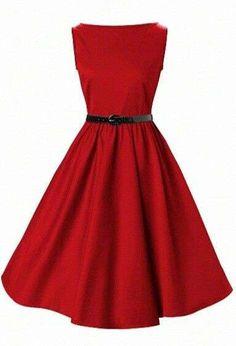 Vestidos pin-up: fotos modelos - Vestido pin-up rojo vuelo