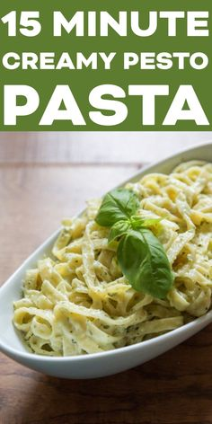 15 Minute Creamy Pesto Pasta - a quick and delicious dinner! Just 7 ingredients and 15 minutes. Perfect for busy weeknights! 15 Minute Creamy Pesto Pasta Jennifer Mason jnnziggy Food 15 Minute Creamy Pesto Pasta - a quick and delicious dinner! Pasta Ligera, Pesto Sauce For Pasta, Creamy Pesto Pasta, Pesto Pasta Recipes, Light Sauce For Pasta, Pasta With Pesto, Recipes With Pesto Sauce, Sauces For Pasta, Mayonnaise