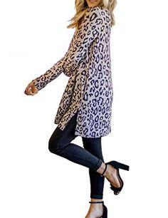Maysoar Womens Tunic Tops Leopard Print Shirt Long Sleeve V Neck Blouse Skinny Fit, Skinny Jeans, Leopard Print Leggings, V Neck Blouse, Accessories Store, Cute Tops, Printed Shirts, Shirt Style, Long Sleeve Shirts