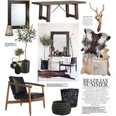 Brazilian Summer by barngirl on Polyvore featuring interior, interiors, interior design, home, home decor, interior decorating, CB2, H&M, Frette and Distinctive Designs