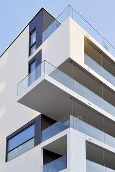 Best Apartment Building Architecture Facades Balconies Ideas - All About Balcony Blog Architecture, Office Building Architecture, Modern Architecture Design, Building Exterior, Facade Design, Futuristic Architecture, Modern Buildings, Building Design, Building A House