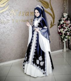 Image may contain: 1 person, standing Muslim Wedding Gown, Muslimah Wedding Dress, Hijab Style Dress, Muslim Wedding Dresses, Dress Indian Style, Wedding Hijab, Muslim Dress, Bridal Dresses, Dress Wedding
