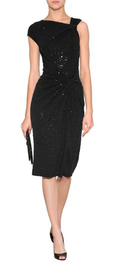 A shimmer of sequin embellishment lends a dazzling look to this exquisite one sleeve sheath from Michael Kors #Stylebop