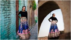 A multicolored lehenga paired witha black blouse by Falguni and Shane Peacock for Bride Divjyot Singh of WeddingSutra. Photos Courtesy- Sharik Verma Wedding Photography India