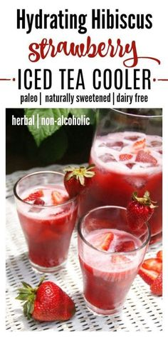 Hibiscus Strawberry Iced Tea Cooler is the perfect drink for rehydrating during the warmer months. It's full of flavor, slightly tart and not too sweet. This naturally sweetened, mouthwatering iced tea cooler will have you reaching for a second glass. | Recipes to Nourish | Ice tea cooler recipe | Hibiscus strawberry beverage | Paleo recipes | hydrating beverages | summer drinks | iced tea recipes || #paleorecipes #summerdrinks #icedtea