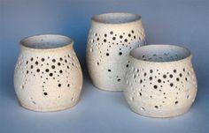 Handmade Ceramic Luminaries in Speckled Cream. Wheel-thrown, drilled holes #naomianita#etsy