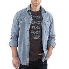 Carhartt Workwear, Carhartt Shirts, Denim Button Up, Button Up Shirts, Ticking Stripe, Work Fashion, Work Wear, Atlanta, Bomber Jacket