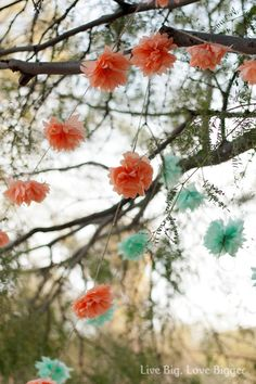 Mint and coral---adorable outdoor decor idea, go with fake flowers from Michael's etc to ensure that they last longer through various weather condition.