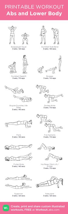 Abs and Lower Body: my custom printable workout by @WorkoutLabs #workoutlabs #customworkout #fullbodyworkouts