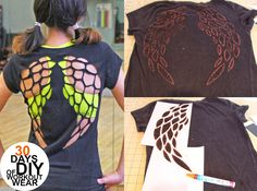 DIY. Black shirt. Angel wings. Use a thrift store or old shirt. Template provided on source site.