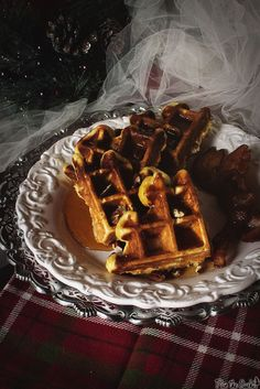 Spiked Eggnog Belgian Waffles with Warmed Boozy Syrup