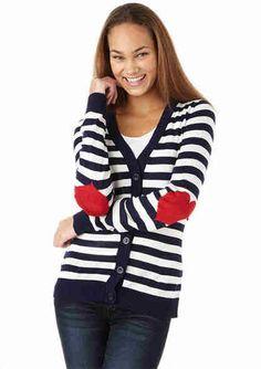 Heart elbow patch cardigan from Delias.com So preppy