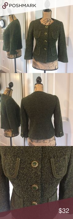 """Ann Taylor Loft Cropped Jacket Stunning tweed cropped jacket in olive/black tones. Decorative green/gold buttons down front & at wrists. The 4 decorative pockets are trimmed in elegant bric-a-brac. Fully lined and there is slight damage to lining (see pics, small pin holes snags). Approximate Measurement laid flat: Chest - 35"""" Shoulder to hem - 19"""" Sleeve length - 19""""  Please note, no size tag so please double check my measurements above for fit! Ann Taylor Jackets & Coats Blazers"""