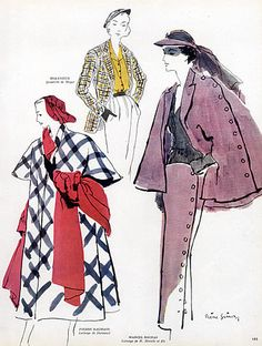 Pierre Simon 1949 Pierre Balmain, Marcel Rochas, Molyneux, Fashion Illustration