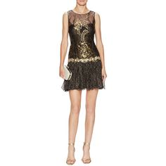 Marchesa Notte Embellished Metallic Lace Cocktail Dress ($349) ❤ liked on Polyvore featuring dresses, black, embellished dresses, metallic lace dress, black dress, black lace dress and black cocktail dresses