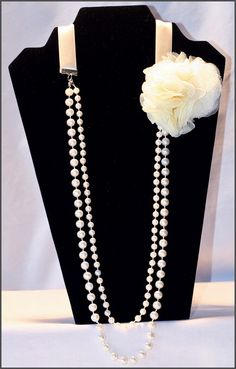 Dual Strand Pearl Necklace with Cream Flower
