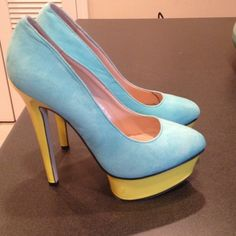 Cute color block pumps Mint, black and neon yellow pumps. Too cute! Worn once breckelles Shoes Heels