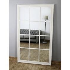 Bordeaux - Vintage White Rectangular Full Length Window Mirror x x Faux Window, Window Mirror, Wood Mirror, Wall Mirrors, White Full Length Mirrors, Extra Large Mirrors, Outdoor Mirror, Beaded Mirror, Shabby Chic Mirror