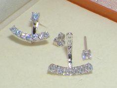 925 Silver Earrings,Cz diamond Ear Jacket,Cartilage double sided earring, ear…