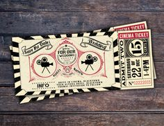 Vintage Retro Save the Date Ticket Announcement by LyonsPrints