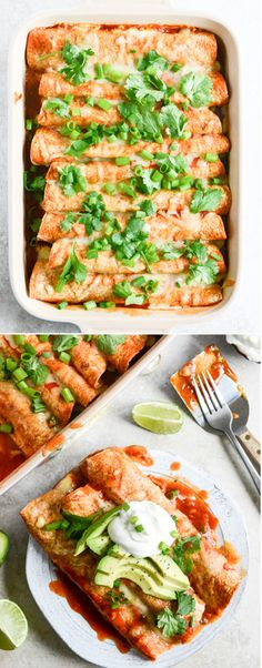 Our favorite Lightened Up Beef Enchiladas with 10 minute Enchilada Sauce I howsweeteats.com