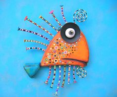 Tangerine Sardine, Original Found Object Wall Sculpture, Wood Carving, Wall Decor, by Fig Jam Studio