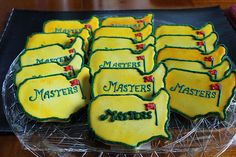 Masters Logo Cookies - The Art of the Cookie Golf Cookies, Sugar Cookies, Masters Golf, Golf Party, Cake Board, Cookie Designs, Baking Tips, Golf Tips, Cookie Recipes