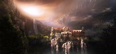 I've always wanted to do a Rivendell matte painting, and I had actually tried one before, it's sitting somewhere in my scrapheap, but yesterday after Arrival was finished I decided to start another...