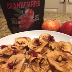 Baked Apple Chips Apple Chips, Dried Cherries, Gluten Free Snacks, Baked Apples, Graceland, Cherry, Chicken, Baking, Fruit