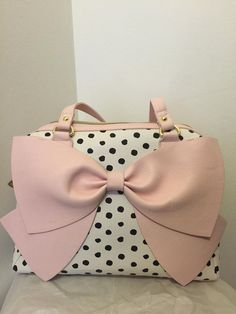 $75.00  NWT BETSEY JOHNSON Black and White Bow Nanza Polka Dot Light Pink Satchel Purse #BetseyJohnson #Satchel