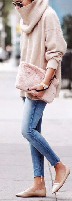Blush Oversized Cowl Neck Outfit Idea