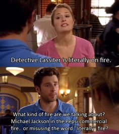 """Detective Lassiter is literally on fire. What kind of fire are we talking about? Michael Jackson in the Pepsi commercial fire...or misusing the word """"literally"""" fire? #Psych"""