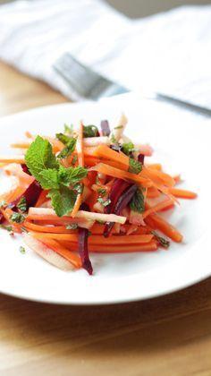 ensalada remolacha zanahoria menta y manzana