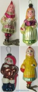 """Vintage glass ornaments of the fairy-tales """"Little Red Riding Hood"""" and """"Puss in Boots"""" by Charles Perrault."""
