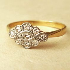 Edwardian Scalloped Diamond Ring, Antique 18k Gold Platinum and Diamond Engagement Ring Approx. Size US 7.25