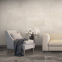 Large format tiles on wall and floor elongate the horizontal and vertical space in a room, making it look bigger. Large Format Tile, Amazing Spaces, Trendy Home, Design Trends, Tiles, Quote, Flooring, Big, Check