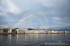 Photo about A seaside view of Thessaloniki with a rainbow above her. Image of urban, view, thessaloniki - 65529641 Commercial Street, Thessaloniki, Seaside, Greece, Rainbow, Stock Photos, Celestial, Outdoor, Image