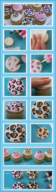 Cheetah print cupcakes to make