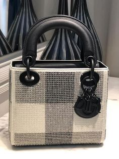 New Dior Winter 2019 mini Lady Dior bag embellished with sequins in black & white color by PSL Dior Handbags, Burberry Handbags, Fashion Handbags, Purses And Handbags, Gucci Bags, Luxury Purses, Luxury Bags, Dior Quotes, Christian Dior