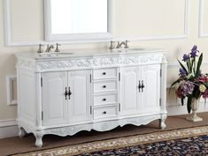 Decorative Double Sink Florence Bathroom vanity Model for sale online Bathroom Sink Vanity Units, Vintage Bathroom Cabinet, Double Sink Vanity, Victorian Bathroom, White Vanity Bathroom, Small Bathroom, Double Sinks, French Bathroom, Master Bathrooms