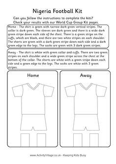 Nigeria football kit worksheet