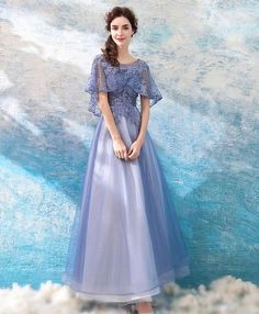 Prom Dresses Ball Gown, Elegant Purple Beaded Cape Sleeve Long Prom Dress Tulle With Sleeves, from the ever-popular high-low prom dresses, to fun and flirty short prom dresses and elegant long prom gowns. Long Prom Gowns, Plus Size Prom Dresses, Short Prom, Tulle Prom Dress, Tulle Lace, Dress Lace, Blue Wedding Dresses, Bridesmaid Dresses, Blue Dresses