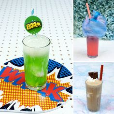 Super Science Party Drinks for Kids - Candy Floss Party Punch, The Exploding Super Hero Slammer, and The Salted Caramel Root Beer Float