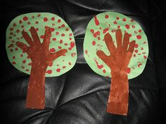 Apple Tree craft - hands & arms are tree trunk (maybe trace on brown construction paper instead).