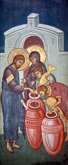 Jesus transforming water into wine in The Marriage at Cana, a fresco from the Visoki Dečani monastery. Images Of Christ, Religious Images, Religious Icons, Religious Art, Byzantine Icons, Byzantine Art, Christian Religions, Biblical Art, Catholic Art