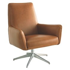TOULOUSE Mid tan leather swivel armchair | Buy now at Habitat UK
