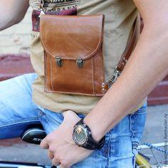 Купить Коричневая мужская сумка из натуральной кожи, сумка для документов. - коричневый, сумка ручной работы