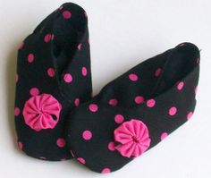 Black and Hot Pink Baby Shoes by daydaysdesigns on Etsy, $8.00
