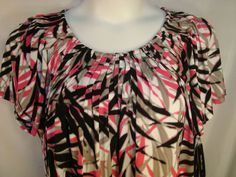 Style & Co Woman Plus Size 1X Pink/Black/Gray Pleated Neckline Top NWT - $14.99 + shipping